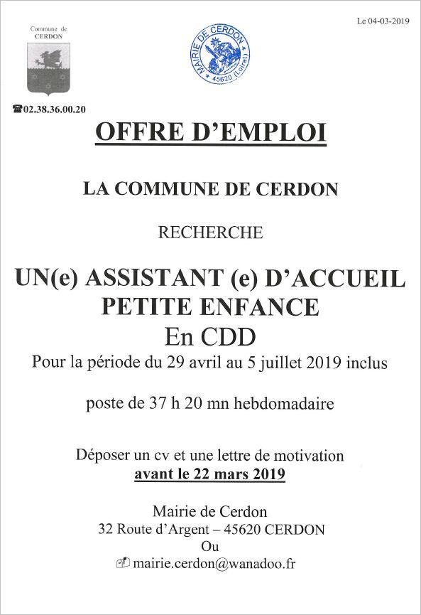 Offre D Emploi Commune De Cerdon